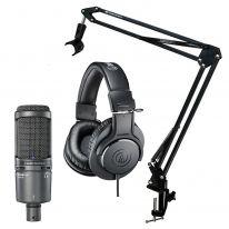 Audio Technica AT 2020 USB+ + ATH-M20x + Stand Bundle