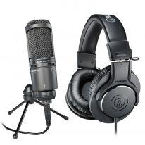 Audio Technica AT 2020 USB+ + Audio Technica ATH-M20x Bundle